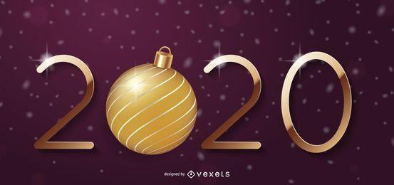 Bola de Navidad Año Nuevo 2020 Tipografía