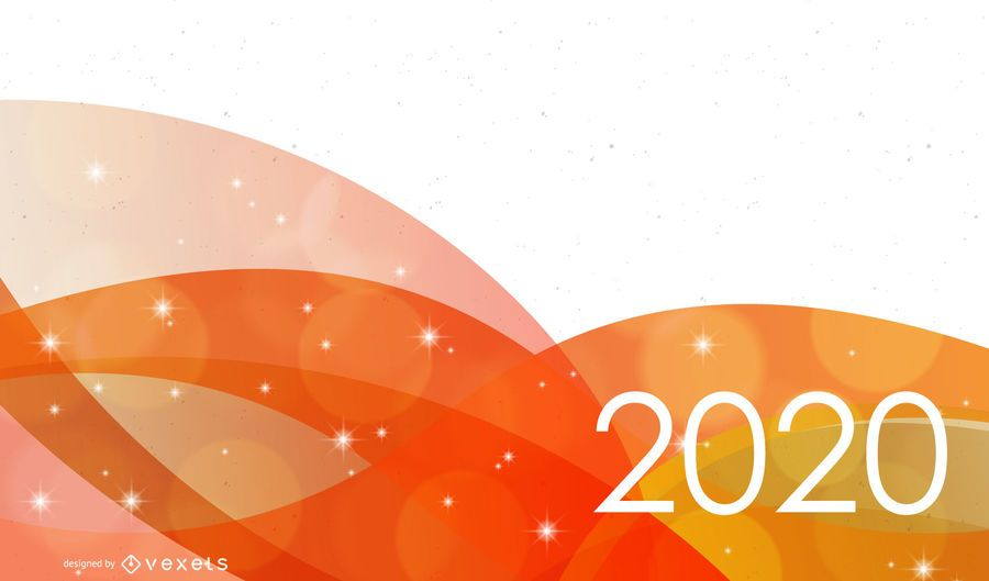 2020 New Year Background with Orange Waves - Vector download