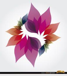 Fondo de pétalos de colores en espiral