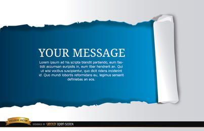 Mensaje de desplazamiento azul horizontal rasgado