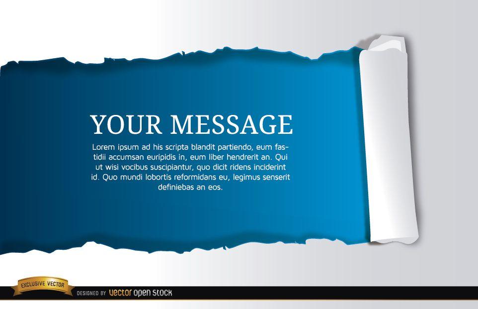Torn horizontal blue scroll message