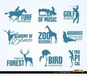 Logotipos de recreação e animais