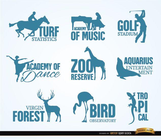 Logotipos de recreación y animales