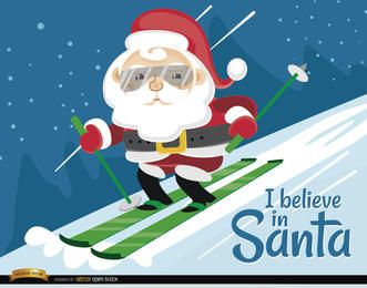 Santa Claus Ski Christmas Background
