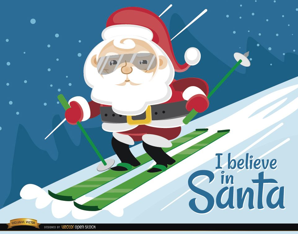 Santa Claus Ski Christmas Background