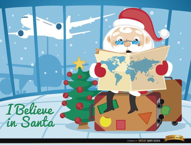 Papai Noel viajando aeroporto