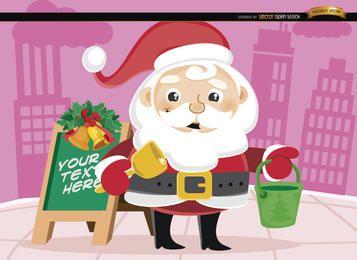 Balde de Natal de Papai Noel na rua