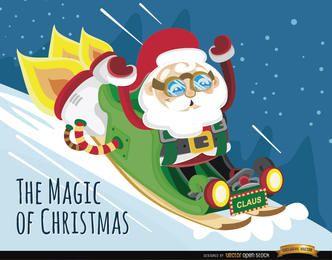 Santa rocket sleigh background