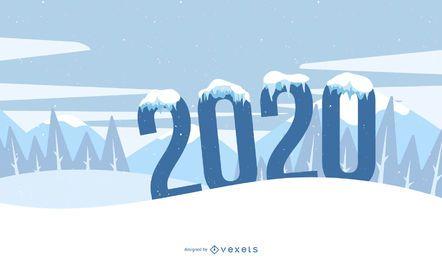 Tipografia de ano novo de neve estilo funky