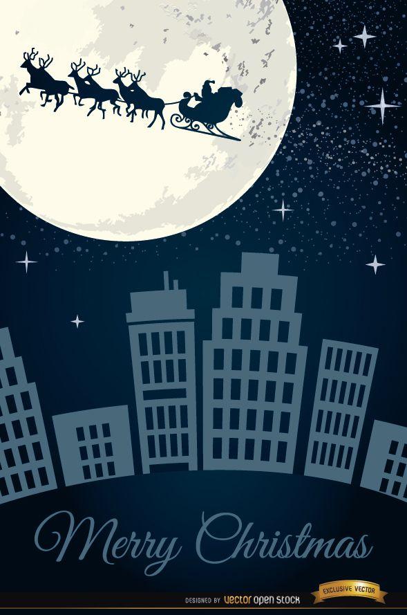 Santa Claus sleigh flying over city