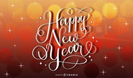 Fondo rojo creativo de la tipografía del oro del año nuevo