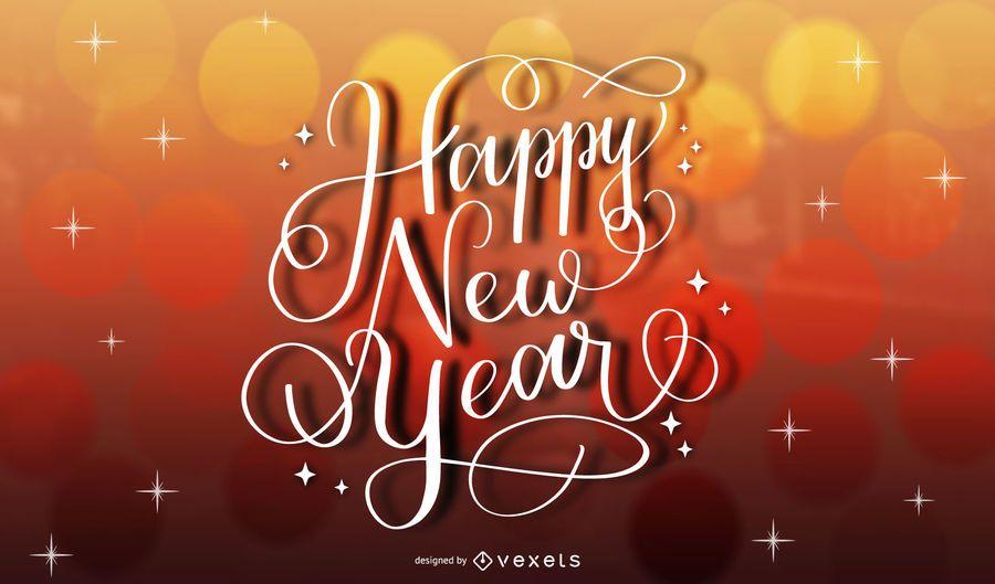 Creativo año nuevo oro tipografía fondo rojo
