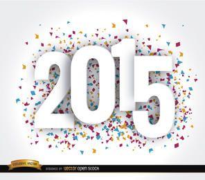 Glückliche 2015-jährige Konfetti-Tapete