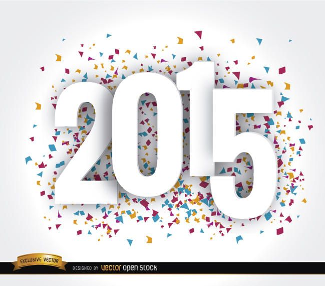 Happy 2015 Year confetti wallpaper