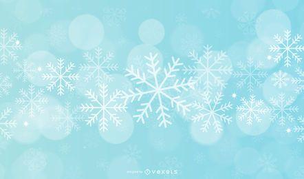 Fondo de copos de nieve turquesa con saludo de Navidad