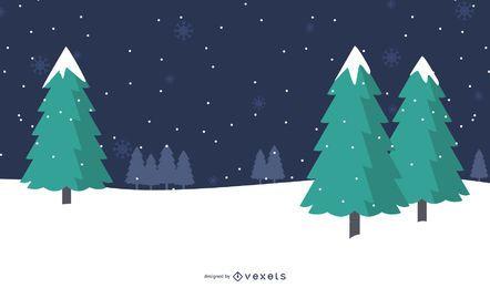 Weihnachtshintergrund mit Bäumen auf Schneeflocken