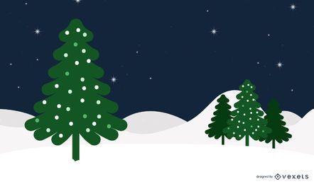Funky fundo de Natal nevado com uma árvore de Natal
