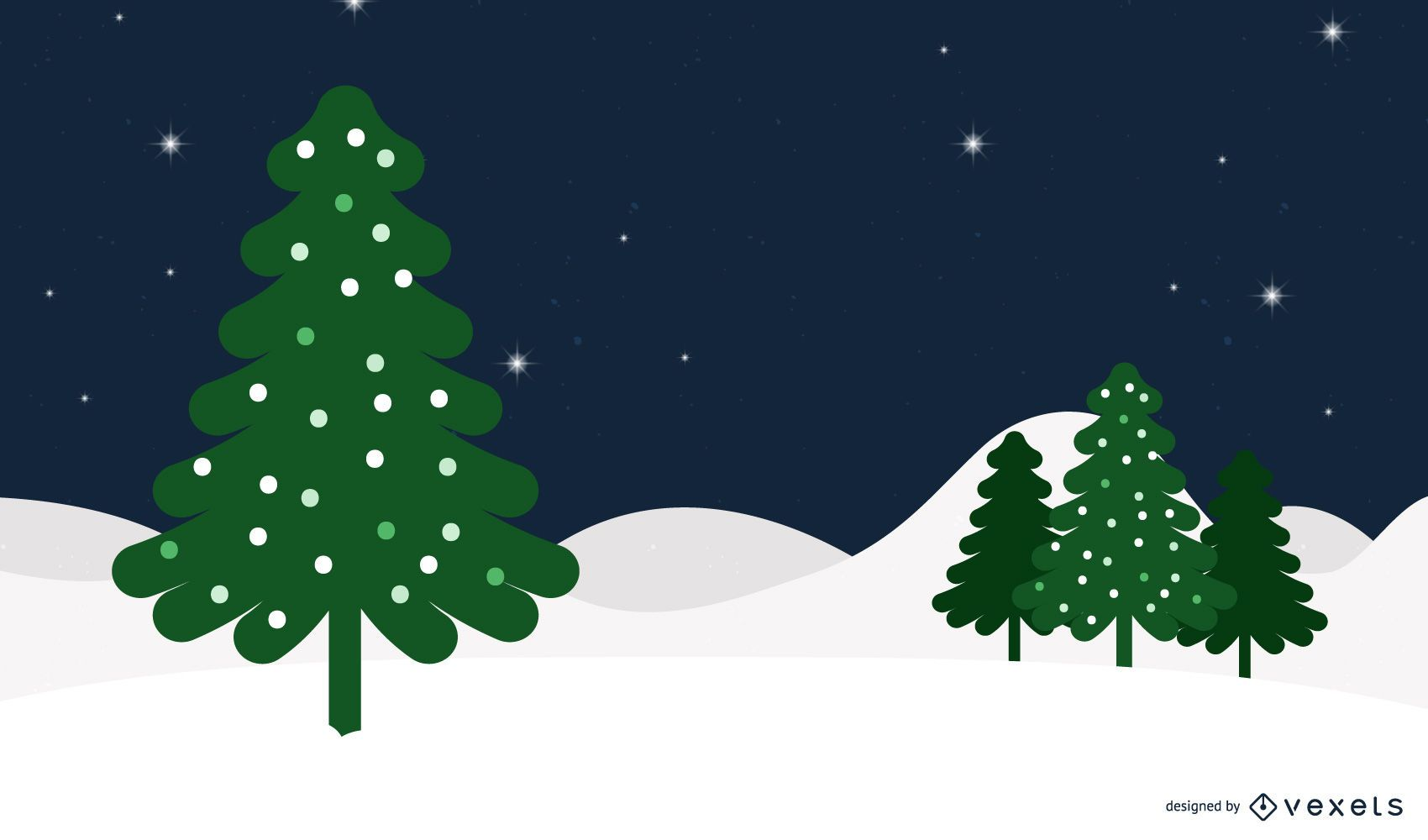 Funky Snowy Christmas Background with a Xmas Tree