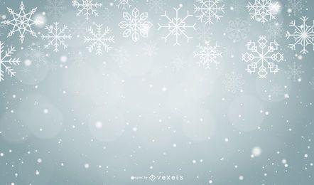 Fundo cinza de flocos de neve de Natal