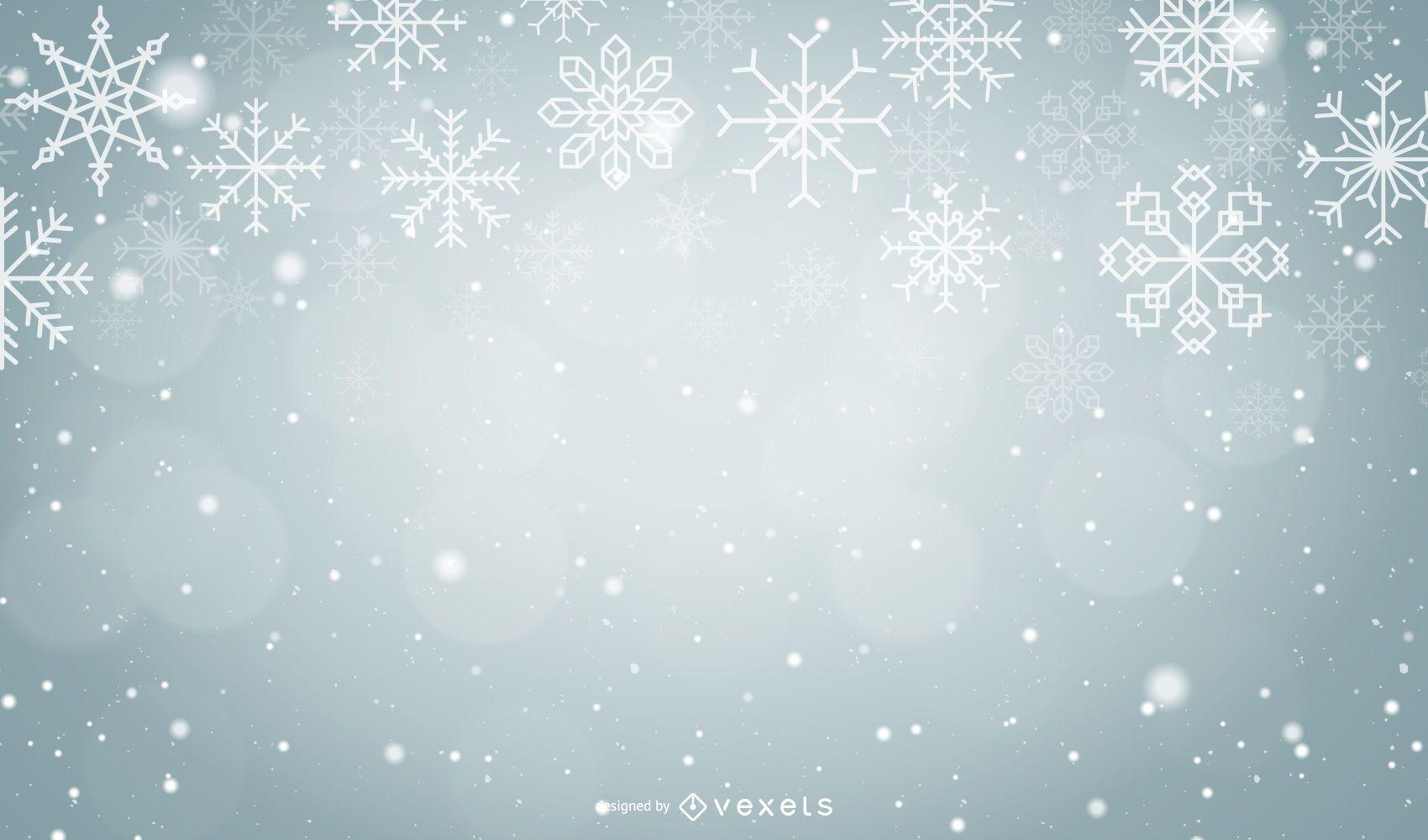 Copos de nieve de Navidad sobre fondo gris