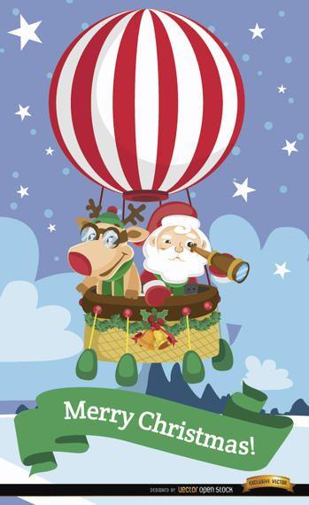 Papai Noel e balão de ar quente de renas