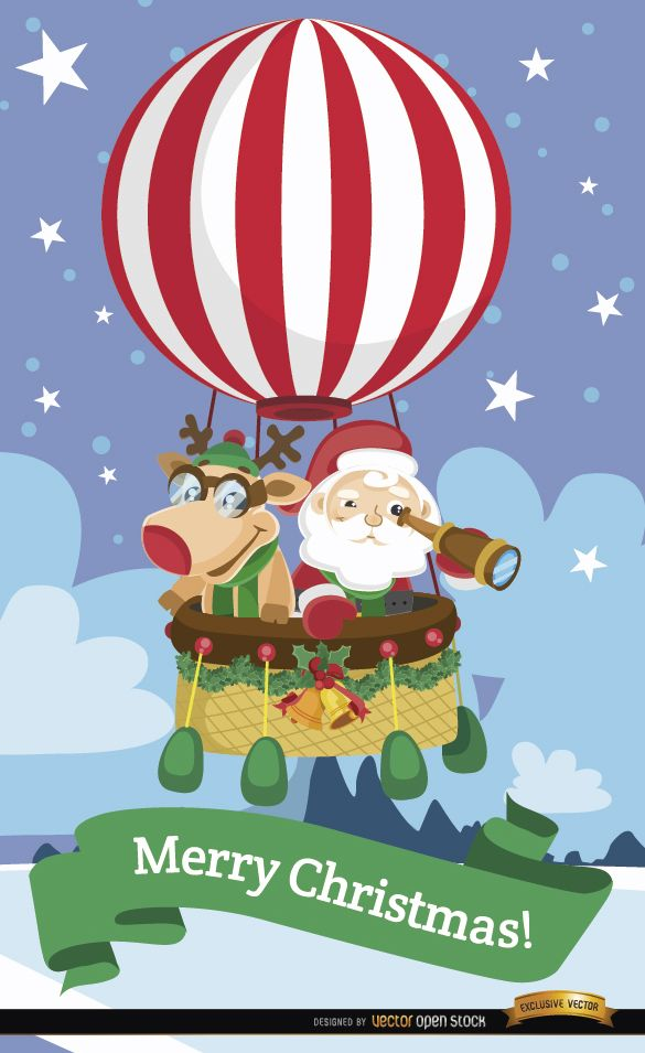 Santa and reindeer hot air balloon