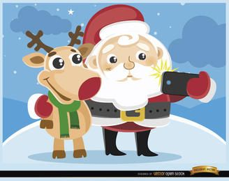 Desenhos animados Santa e rena selfie