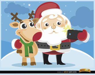 Santa de desenho animado e selfie de rena