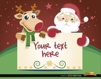 Mensagem de cartão de Natal de renas de Papai Noel