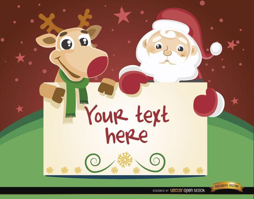 Santa reindeer Christmas card message
