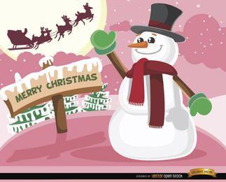 Christmas snowman waving Santa sleigh