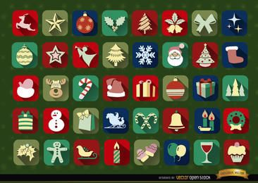 40 ícones de Natal ao quadrado