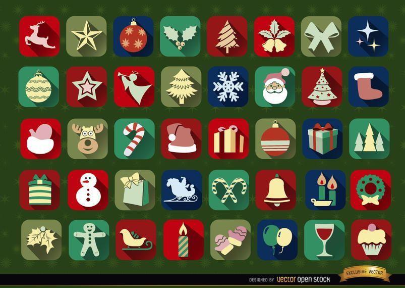 40 iconos cuadrados de navidad