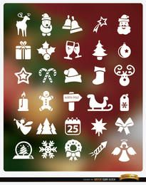 30 iconos navideños planos