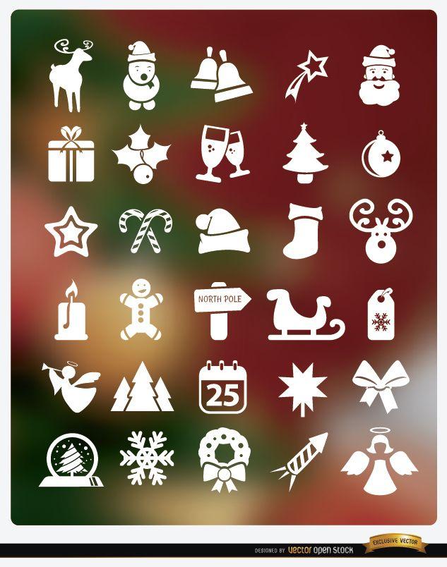 30 iconos planos de Navidad