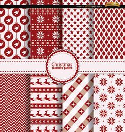 8 Christmas seamless patterns red white