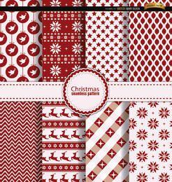 8 Natal sem costura padrões vermelho branco