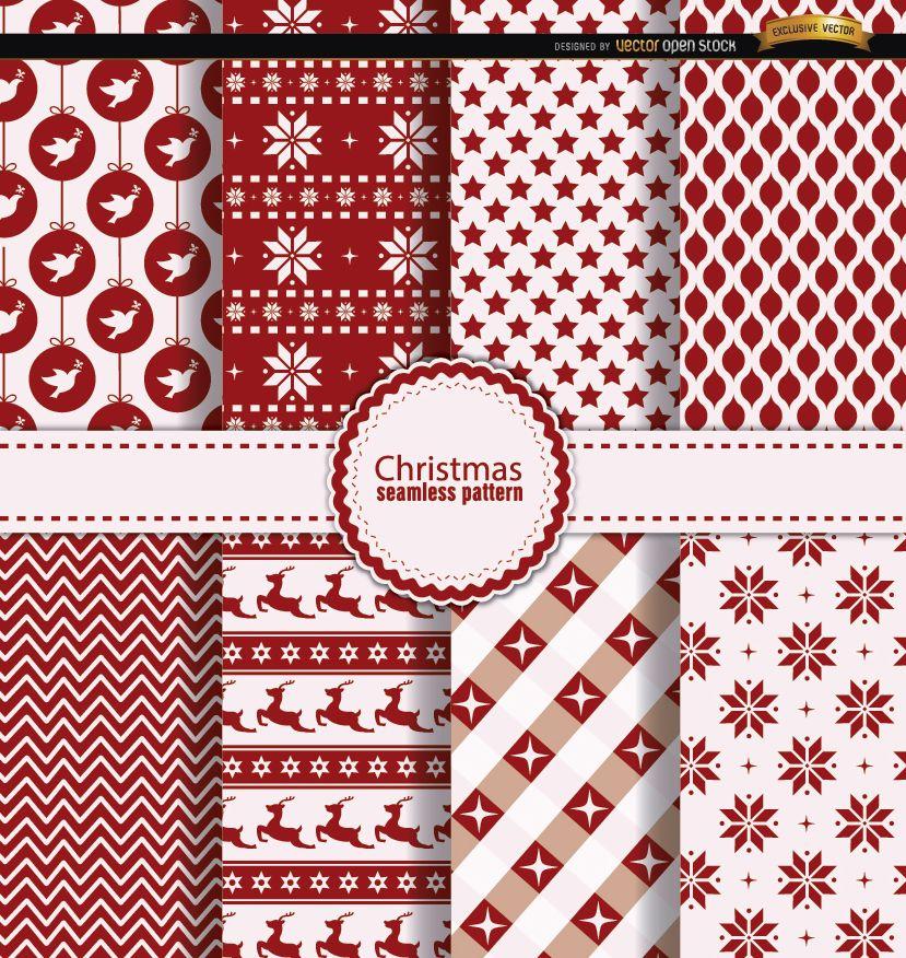 8 padrões sem emenda de Natal vermelho branco