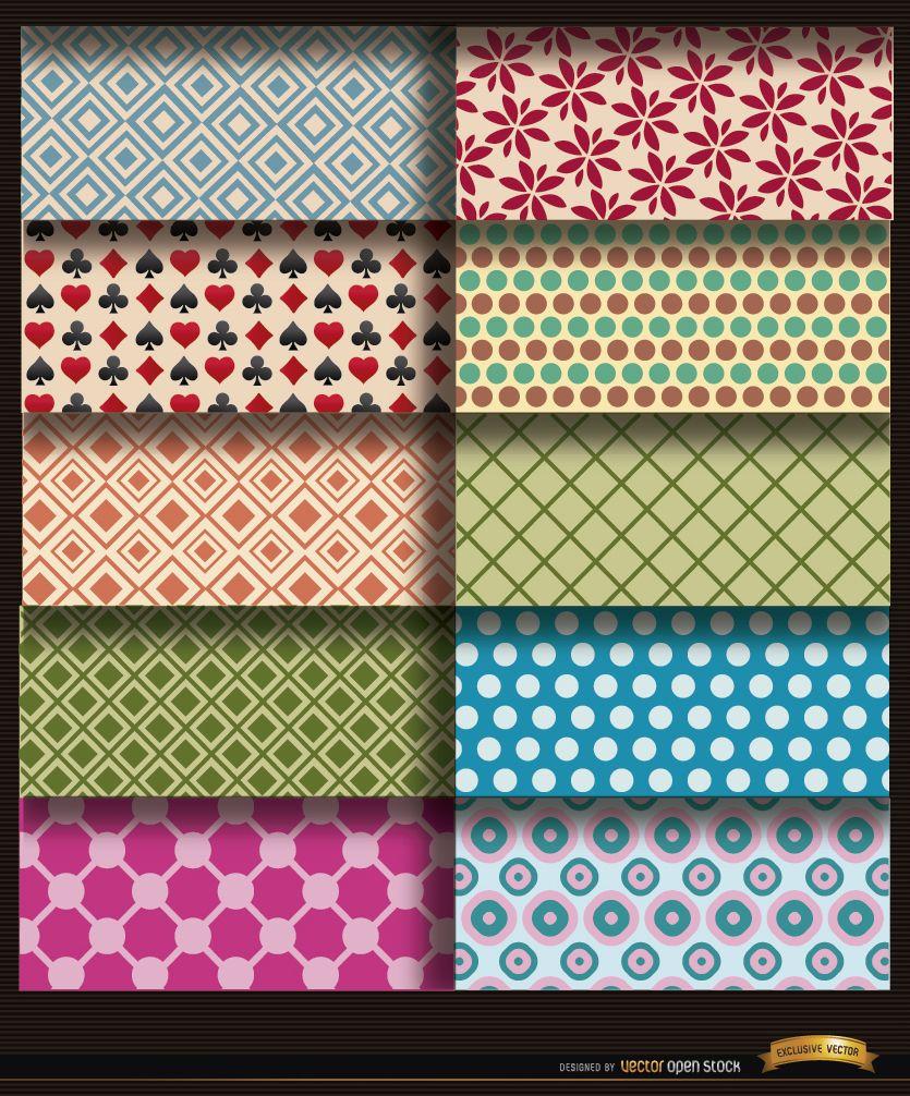 10 patrones de círculos de flores de rombos