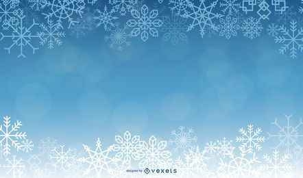 Beautiful Blue Xmas Background with Snowflakes
