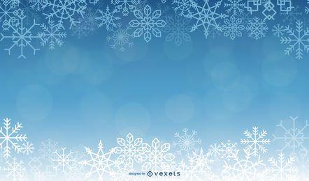 Fundo azul lindo de Natal com flocos de neve