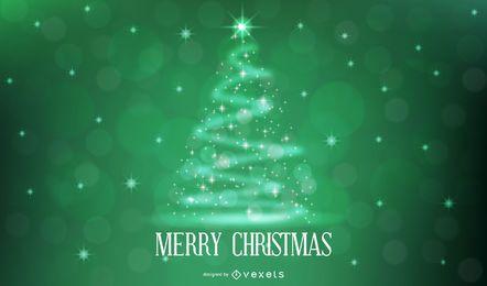 Árbol de Navidad con estrellas brillantes sobre fondo verde