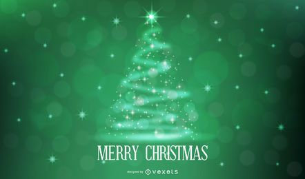 Xmas Tree Shaped Sparkling Stars Green Background