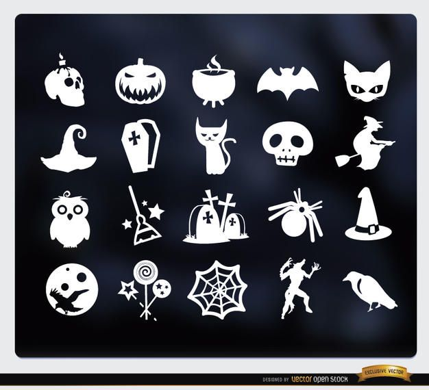 20 Halloween white flat icons set