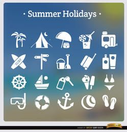 20 ícones brancos de férias de verão