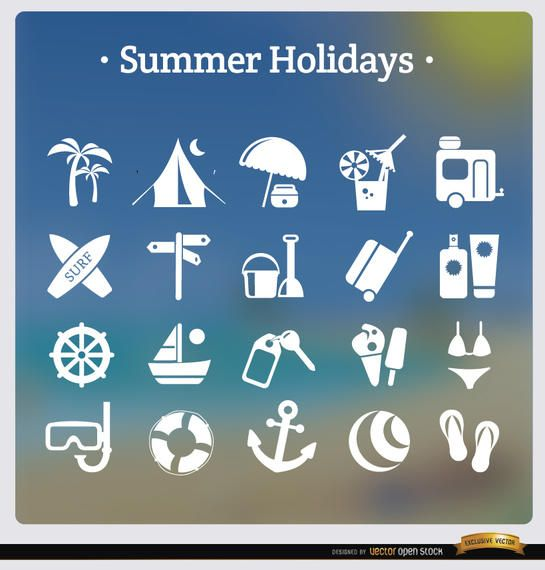 20 summer holidays white icons