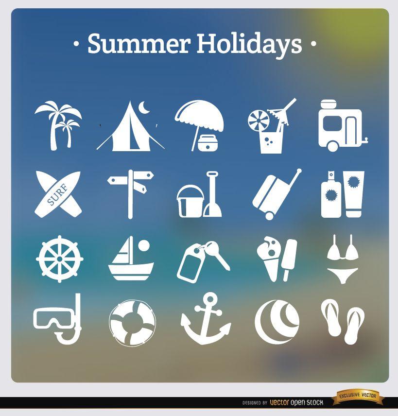 20 iconos de vacaciones de verano blanco