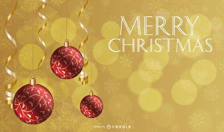 Chucherías rojas que cuelgan en el fondo de Navidad de oro