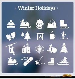 20 feriados de inverno ícones brancos