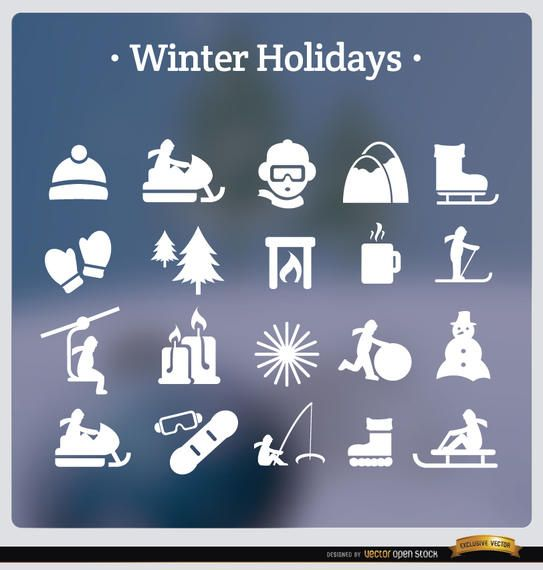 20 winter holidays white icons